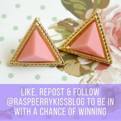 See this Instagram photo by @raspberrykissblog  http://www.theprizefinder.com/content/win-pink-and-gold-triangle-earrings Ends 8/7/16