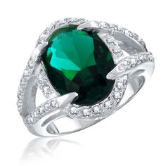 925 Sterling Silver 4-Prong CZ Emerald Cocktail Ring