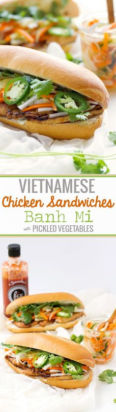 Chicken Sandwich (Bánh Mì) Recipe Vietnamese Chicken Sandwich (Banh Mi) - Learn how to make restaurant style BANH MI sandwiches at home! Asian Recipes, Healthy Recipes, Ethnic Recipes, Lunch Recipes, Sandwich Ideas, Banh Mi Recipe, Vietnamese Sandwich, Vietnamese Food, Chow Chow