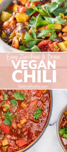 This vegan chili recipe is a whole foods plant based chili that is great for getting kids to eat their vegetables without complaining! Includes both stovetop and Instant Pot recipe instructions. Packed with vegetables and beans, it's a healthy family dinner that's easy to make. #healthyfood #healthyrecipes #healthychili #chili #chilirecipe #instantpotchili #instantpotrecipes #zucchini #zucchinirecipes #beans #beanrecipes #dinner #dinnerrecipes #vegan #veganrecipes