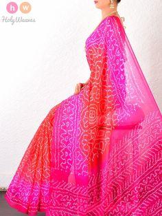 Red Georgette Bandhani Saree - HolyWeaves