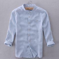 Italia marca camisas de los hombres la ropa azul cielo moderno sólido camisa hombres casual de manga tres cuartos camisa para hombre de la moda de verano para hombre camisas(China (Mainland))
