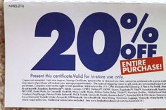 BED BATH BEYOND COUPON 20% Off Entire Purchase! Savings Promo Deal Code Secret**