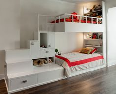 Bunk beds with cubbies and stairs. Nicolas really likes this one.