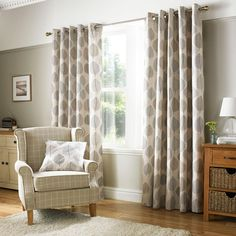 Decorated with a bold leaf design in shades of grey against a natural backdrop, this pair of fully lined curtains will reduce unwanted draughts entering, complete with an eyelet header to provide ease when installing with multiple sizes available. Indoor Blinds, Patio Blinds, Diy Blinds, Bamboo Blinds, Fabric Blinds, Curtains With Blinds, Hanging Curtains, Curtains On Patio Doors, Bedroom Window Curtains