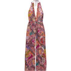 Etro Embellished printed georgette halterneck jumpsuit ($1,030) ❤ liked on Polyvore featuring jumpsuits, floral jumpsuit, floral necktie, neck-tie, purple necktie and colorful jumpsuit