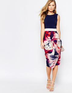 Image 4 ofCloset 2 in 1 Pencil Dress with Navy Floral