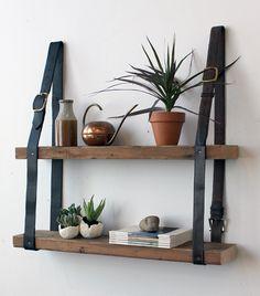 Gorgeous DIY leather belt & wood shelves from Design Sponge. Diy Hanging Shelves, Pallet Shelves, Wood Shelves, Diy Shelving, Unique Shelves, Floating Shelves, Hanging Bookshelves, Easy Shelves, Garage Shelving