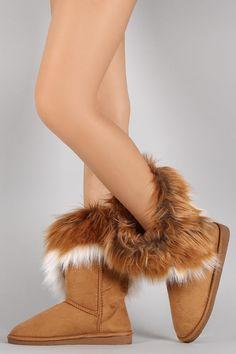 Tri-Tone Faux Fur Suede Round Toe Flat Boots