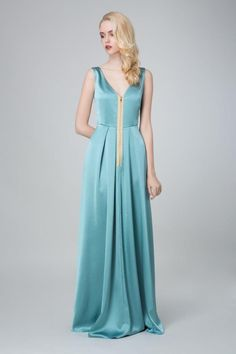 SADONI evening dress ZAHARA petrol with trendy zipper in front