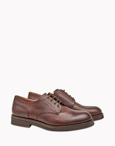Brunello Cucinelli Street derby in brown leather 753fedcd051