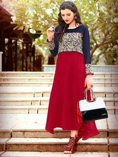 Stylish Red And Navy Blue Designer Kurti