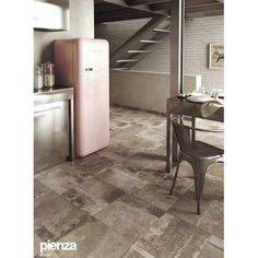 Stone flooring and pink fridge . So nice to the stainless steel . Interior Design Magazine, Interior Design Kitchen, Modern Interior, Interior Architecture, Interior Decorating, Marazzi Tile, Concrete Look Tile, Concrete Interiors, Stone Flooring