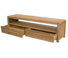 Simple long TV stand with drawers
