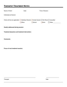 Therapy Progress Note Template   Professional resources ...