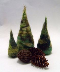 Needle felted free form fir trees, set of 3, woodland, waldorf, fall, winter, bowl fillers, home decor. $14.00, via Etsy.