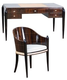 Jacques-Emile Ruhlmann (in the style of). Desk and armchair, c1925. Desk, H. 76 cm, 135 x 76,5 cm; armchair, H. 86 cm, 58 x 54.5 cm. Ebonised wood, maccassar veneer, inlaid exotic wood, ivory, beige leather desk pad, nickel-plated brass.