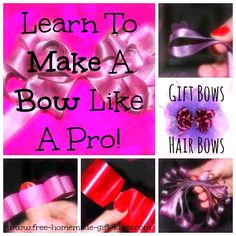 How To Make A Bow Like A Pro - http://www.free-homemade-gift-ideas.com/how-to-make-a-bow.html Great instructions with photos! #diy #gift #bow