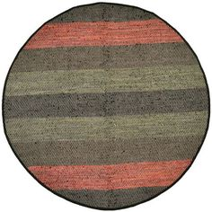 Striped Matador Leather Flat Weave Round: 8 Ft. x 8 Ft. Rug - (In Round)