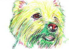 Painting Dog Portrait West Highland Terrier Westie Giclee print from Original Artist Signed Green Yellow Canine Art Dog gift idea Highlands Terrier, West Highland Terrier, Westies, Westie Dog, Dog Artist, Custom Dog Portraits, White Terrier, Dog Paintings, Dog Gifts