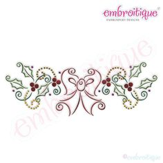 Bow and Holly Border Embroidery Design - Large