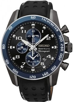 Seiko Sportura Alarm Chrono Black Dial Leather Strap Mens Watch SNAF37 BY Seiko