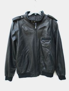 MEMBERS ONLY Black Perforated Leather Zip Motorcycle Jacket Size XXL #MembersOnly #BasicJacket