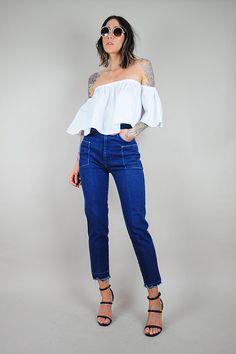 90's TOMMY HILFIGER High waist SKINNY jeans Grunge Straight Leg ...