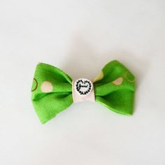 Feminist Green and Pink Hair Bow Clip by FabulouslyFeminist, $5.95