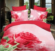 New Arrival 100% Cotton Glamorous Pink Rose 3D Printed 4 Piece Bedding Sets  @bedding inn