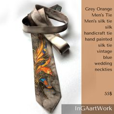 Natural pongee silk handcrafted tie. Feather ornaments silk scarf in grey, orange, purple colors hand painted on natural silk. The tie is very bright and exclusive, can make a favorite accessory for a young gentleman who likes to cheer up his everyday look with silk ties. It is also an interesting gift. It has a nice touch. #weddingtie #silkmenscarve #silktie #handcraftedsilktie