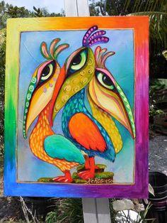 Pelican Bird whimsical colorful Tropical KeROBinson by KeROBinson, $275.00