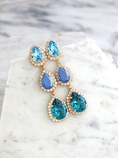 Blue Bridal Earrings Blue Chandelier Earrings by iloniti on Etsy Blue Chandelier, Chandelier Earrings, Blue Bridal, Blue Earrings, Drop Earrings, Wedding Earrings, Fine Jewelry, Stylish Jewelry, Jewelry Making