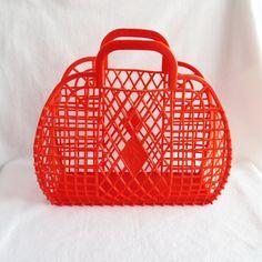 Vintage Soviet Red Hard plastic Bag, Beach Basket - Summer Bag - Large basket, Hard Plastic Bag - Large size - retro style -  shopping bag