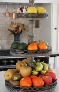 Love this idea to display my fruit where I can see it, space saver.  Hmm.  May make one out of colored glass.