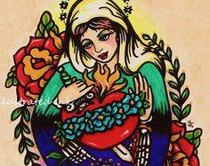 Giorno della morta Vergine Maria vecchia scuola tatuaggio arte stampa 5 x 7, 8 x 10 o 11 x 14