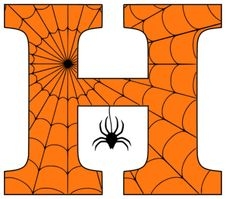 Free printable Halloween coloring letters, numbers and alphabet stencils with spider and cob web patterns for DIY arts and crafts. Halloween Letters, Halloween Fonts, Halloween Design, Halloween Crafts, Printable Pumpkin Carving Patterns, Pumpkin Carving Stencils Free, Free Stencils, Hand Lettering Alphabet, Alphabet Stencils
