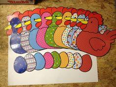 Kip en ei op scrappapier (bek, lel en kam op gekleurd papier)
