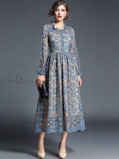 H Han Queen New Women Lace Dress Crochet . - - H Han Queen New Women Lace Dress Crochet Flower Hollow Out Long Sleeve Vestido Elegant Work Casual Slim Vintage Party Maxi Dresses-in Dresses from Wom. Trendy Dresses, Women's Dresses, Casual Dresses, Party Dresses, Dress Outfits, Dress Party, Fall Outfits, Evening Dresses, Floral Lace Dress