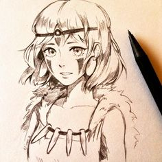 Ahh anothe Ghibli movie ^^ I had a lot of fun sketching her but I've never watched the movie before. Is it a good recommendation? #PrincessMonoke #Ghibli