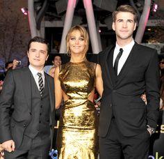 Josh Hutcherson (Peeta). Jennifer Lawrence (Katniss). Liam Hemsworth (Gale) The Hunger Games LA premiere.