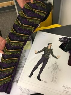 A sketch and sleeve of Von Rothbart's Act III costume, made by Erin Winslow. Swan Lake Costumes, Tutu Costumes, Ballet Costumes, Male Ballet Dancers, Ballet Boys, Swan Lake Ballet, Black Swan, Inspiration, Tunics