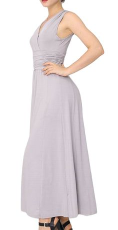 Pandapang Womens Empire Waist Slim Pure Color Evening VNeck Swing Stretchy Accept Waist Long Dress Grey M -- More info could be found at the image url. (This is an affiliate link) Formal Dresses For Women, Dresses For Work, Slim Waist, Gray Dress, Empire, V Neck, Pure Products, Grey, Link