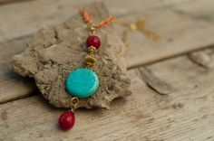 Turquoise statement necklace, Turquoise pendant , Red coral bead necklace, Tassel necklace, boho jewelry