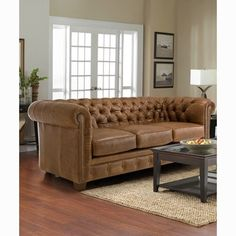 Shop for Hancock Tufted Distressed Saddle Brown Italian Chesterfield Leather Sofa. Get free shipping at Overstock.com - Your Online Furniture Outlet Store! Get 5% in rewards with Club O! - 15472806