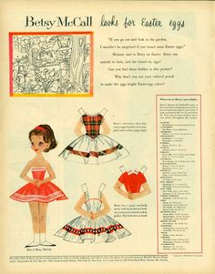 Vintage April 1958 Magazine Paper Doll Betsy McCall Looks for Easter Eggs