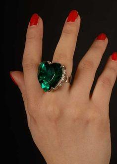 Halloween Gothic Green Large Jewel Ring