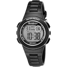 Armitron Sport Women's 45/7046BLK Digital Chronograph Black Resin Strap Watch ** You can find out more details at the link of the image. (This is an affiliate link) #Clothing