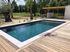 Small Backyard Pools, Small Pools, Swimming Pools Backyard, Swimming Pool Designs, Pool Landscaping, Liner Gris, Pool Finishes, Garden Deco, Modern House Design