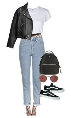 """Sem título #1414"" by oh-its-anna ❤ liked on Polyvore featuring Topshop, RE/DONE, Fendi, Ray-Ban, Vans and Acne Studios"